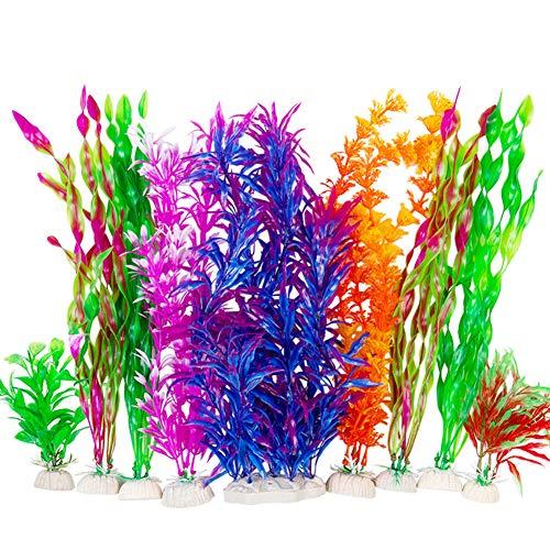 CousDUoBe 9 Pack Large Aquarium Plants Artificial Aquatic Plants, simulate Plants and Aquarium Landscape vividly (12inch) NTS
