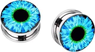 Stainless Steel Devil Eyeball Ear Plugs Tunnel Expander Gauges Piercing (Gauge=8mm(0g))