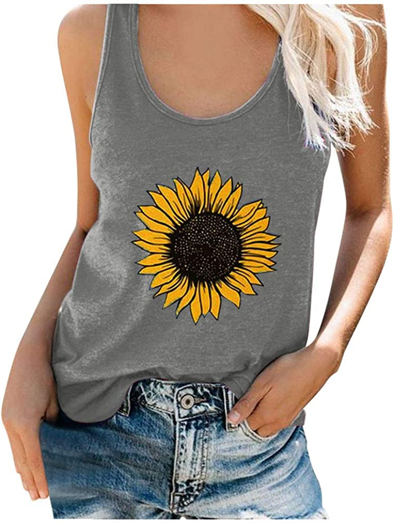 Tank Tops for Women, Womens Summer Sunflower Print Casual Loose Tops Sleeveless Blouses Graphic Tee Shirts