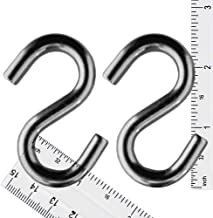 "S Hook - Heavy Duty, Marine Grade 316 Stainless Steel 2.5"" Long, 5/16"", Extra Strong S Shaped Hook - Thick Metal Hook for Hanging and Utility Use (2)"