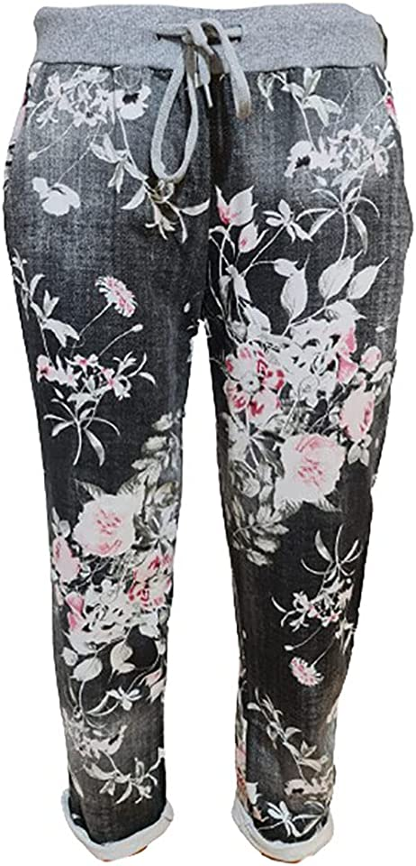 Women's Ladies Denim Jogger Floral, Star Printed Sweatpants Ribbed Waistband Trousers Ladies Causal Summer Jogger Drawstring Italian Gym Running Pants-Size 8-22