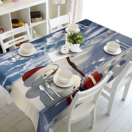 XXDD Decoración del hogar Mantel 3D Lindo muñeco de Nieve Tema patrón algodón Lavable y Mantel Redondo de año Nuevo A3 140x200cm