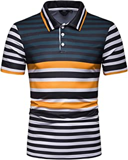 Summer Men'S Short Sleeve Fashion Slim Fit Color Block Stripe Painting Casual Stand Collar Tops Asibieul