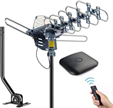 pingbingding Outdoor Digital HD TV Antenna 150 Miles Motorized 360 Degree Rotation with Mounting Pole and 40FT RG6 Coax Cable - UHF/VHF / 1080P / 4K Snap-On Installation