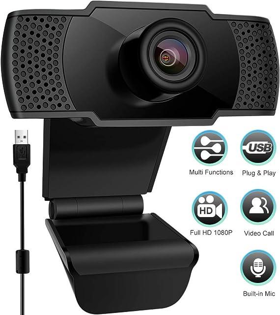 swonuk Cámara Web 1080P con Micrófono Computadora Portátil PC Webcam de Escritorio USB 2.0 para Videollamadas Estudios Conferencias Grabación Juegos con Clip Giratorio Plug and Play (C40)