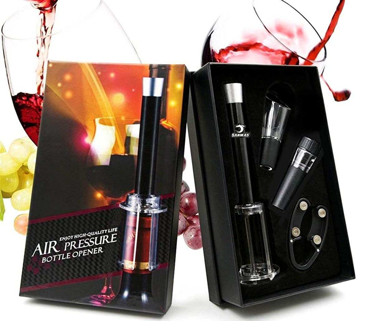 Wine Air Pressure Pump Opener Set, SANMAS Wine Bottle Opener with Foil Cutter, Aerator Pourer and Wine Stopper - Corkscrew Cork Remover Wine Gift Tool Accessories Great for Wine Lovers, Black