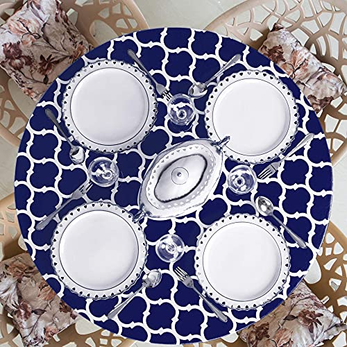 Home One Round Tablecloth with Elastic Edge and Flannel Backing - Waterproof Vinyl Round Table Cover for Outdoor, Patio, Kitchen and Dining Room - Arabic Mosaic - (Medium 35'-42', Navy Blue)