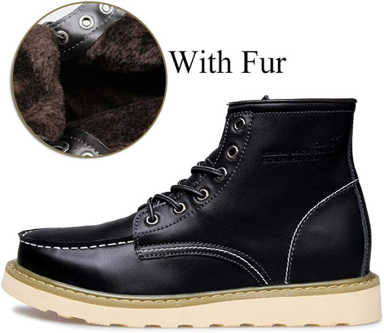 FHCGMX Genuine Leather New Winter Warm Ankle Boots Male shoes Adult Fashion Martin Boots For Men Short Plush Footwear
