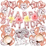 Puselo Decoración de cumpleaños en Globo Oro Rosa, Oro Rosa Happy Birthday Banner Globos de Papel de Aluminio de Corazón Globos de Látex para Fiesta de Cumpleaños de Mujeres Adult