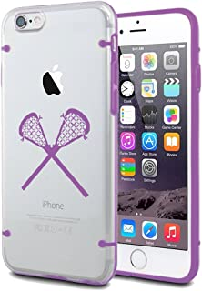 For Apple iPhone Ultra Thin Transparent Clear Hard TPU Case Cover Lacrosse Sticks (Purple For iPhone 7)