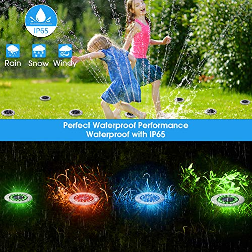 Solar Lights Outdoor with 16 LEDs, Bright Multi-Color Solar Ground Lights Outdoor Waterproof Solar Disk Lights for Pathway Garden Yard Lawn Walkway Driveway (Multi-Color 8pack)