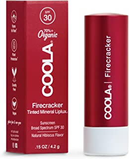 COOLA Organic Mineral Sunscreen Tinted Lip Balm, Lip Care for Daily Protection, Broad Spectrum SPF 30, Reef Safe