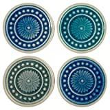 Amazon Brand – Stone & Beam Medallion Round Stoneware Tile Coaster Set - Set of 4, 4.25 Inch, Teal and Blue