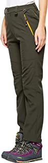 Women's Outdoor Fleece-Lined Soft Shell Hiking Fishing ski Pants Insulated Water Wind-Resistant
