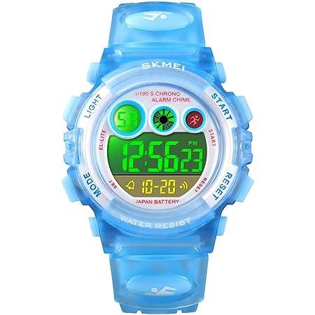 腕時計 キッズ 子供用 ウォッチ 防水 ボーイズ 男の子 多機能 デジタル表示 スポーツ アウトドア 誕生日プレゼント 日本語説明書付き SKMEI ライトブルー