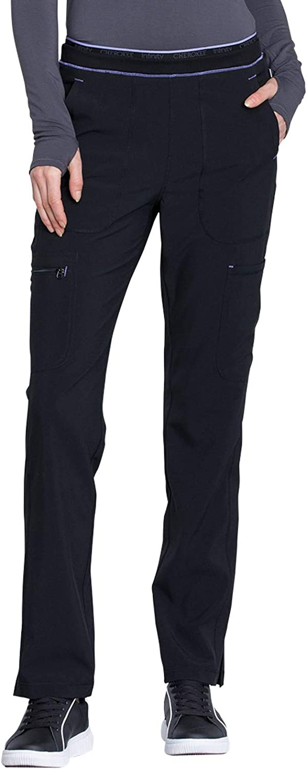 Cherokee Infinity low-pricing Women Scrubs Pant Leg Rise overseas Tapered Mid Pull-on