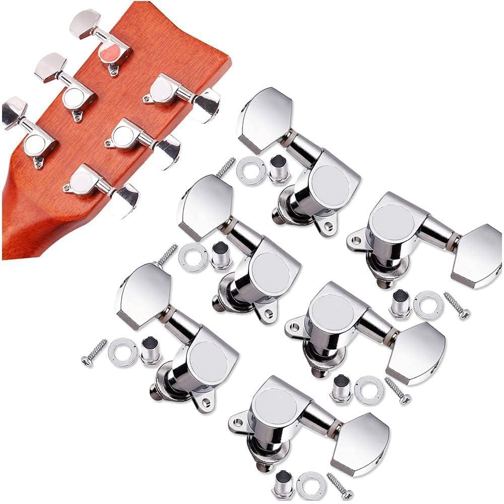 6 Piezas Clavijas de Afinación de Guitarra, Cabezales de máquina de guitarra, Sintonizadores cabeza máquina, Afinador de Cabezas de Máquina Duraderas de Metal 3L3R, para Guitarra (Plateado)