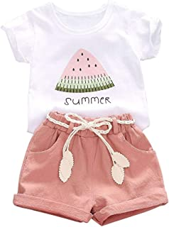 CM C&M WODRO Baby Toddler Girls Summer Shorts Sets Kids Watermelon Letter Print Tops Shorts Outfits Clothes for 1-4 Years Old
