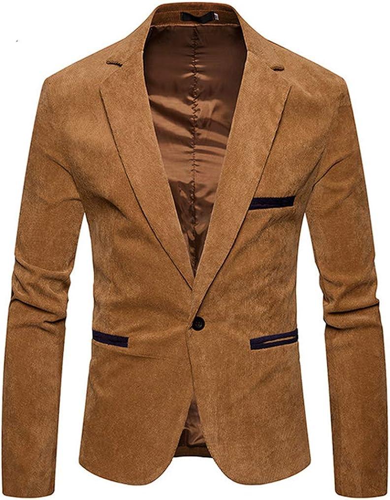 Men Notched Button Slim Fit Party Stylish Casual Corduroy Blazer Suit Jacket