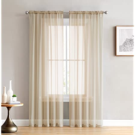 Amazon Com Hlc Me Antique Taupe Sheer Voile Window Treatment Rod Pocket Curtain Panels For Bedroom And Living Room 54 X 84 Inches Long Set Of 2 Home Kitchen