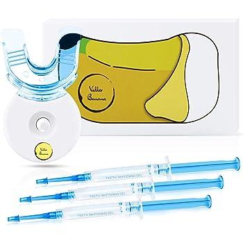 Vakker Teeth Whitening Kit, LED 5x Accelerator Tooth Whitener, (3) 3ml Carbamide Peroxide Gel and Tray, Non-Sensitive Formula, Whitens Stains and Enamel Safe