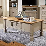 Home Source Corona Pine Two Tone Grey Coffee Table 1 Drawer Solid Wood Occasional Table