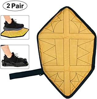 Multi-Function PU Automatic Wrapping Shoe Cover Free Bending Waist Magic Lazy Shoe Cover Household Non-Slip Waterproof Washable Shoe Cover (2 Pairs),Yellow