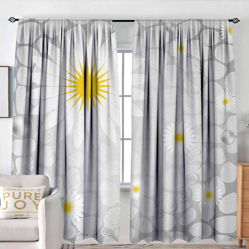 Curtains OFFer for Bedroom Grey and Yellow Flowers Island Free shipping Hawaiian on