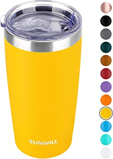 SUNWILL 20oz Tumbler with Lid, Stainless Steel Vacuum Insulated Double Wall Travel..