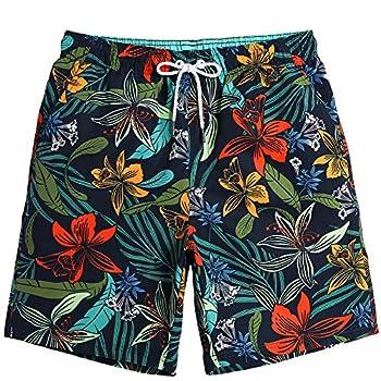 maamgic Mens Quick Dry Printed Short Swim Trunks with Mesh Lining Swimwear Bathing Suits Large