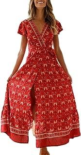 URIBAKE Womens Boho Print Maxi Dress Short Sleeve V-Neck Summer Breathable Night Party Beach Sundress
