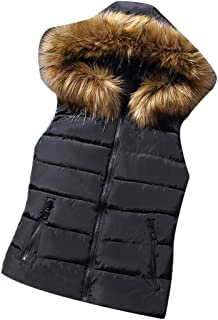 Women Down Vest Jacket Solid Parka Fur Collar Waistcoat Hooded Autumn Winter Outwear