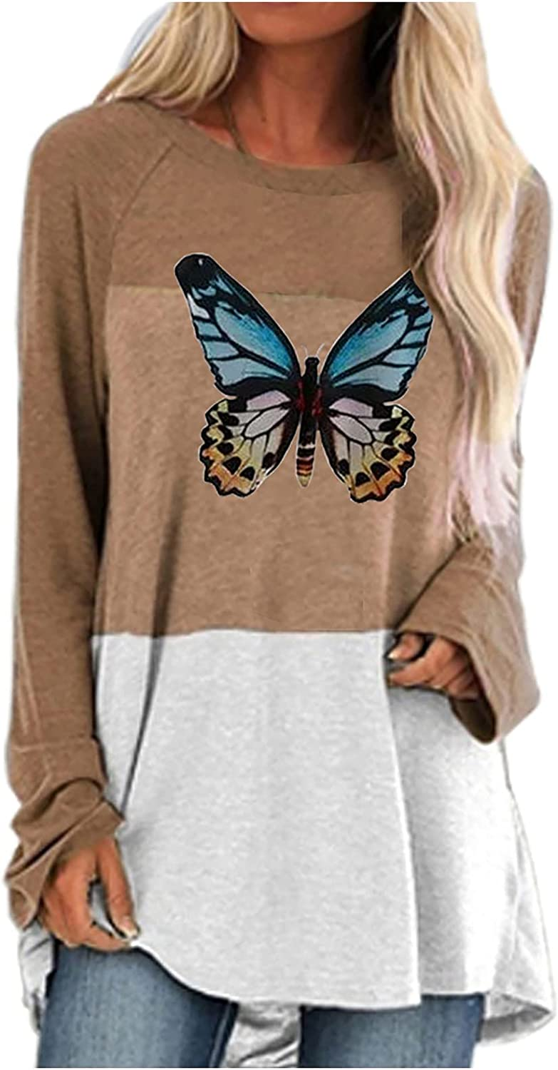 ODJOY-FAN Women's Fashion Sweaters Loose Casual Long Sleeve Tops Round Neck Splicing Printed T Shirt