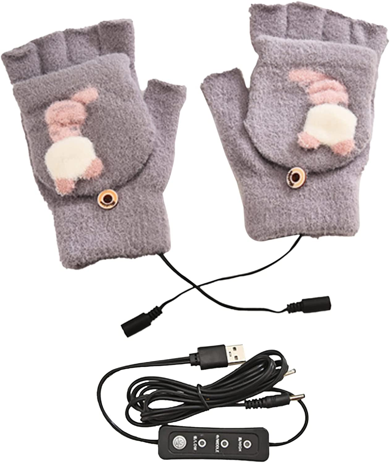 Leyeet Women USB Heated Gloves Winter Dog Electric Heated Gloves Fingerless Mitten with Finger Cover, Black