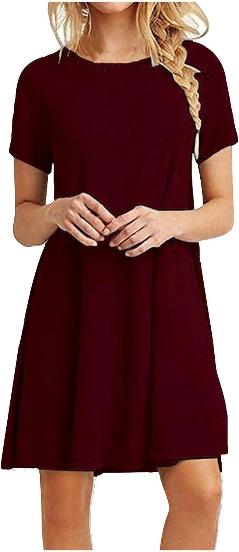 NYFF Women Party Dress マート Fashion Print Casual Sleeve 全国一律送料無料 V-Neck Short