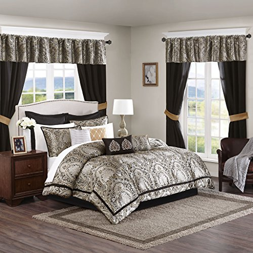 """Madison Park Essentials 24-Piece Room in A Bag Comforter Set-Satin Jacquard All Season Luxury Bedding, Sheets, Decorative Pillows and Curtains, Valance, Queen(90""""x90""""), Michelle, Black"""