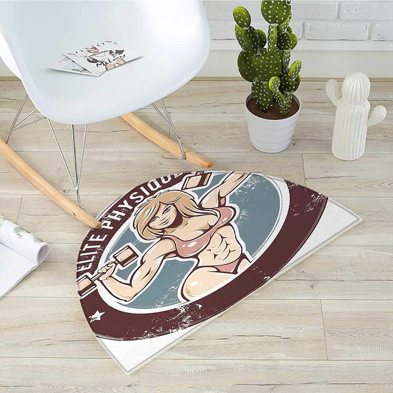 Fitness Semicircle Doormat Retro Style Sexy Lady with Dumbbells Elite Physique Grunge Display Halfmoon doormats H 39.3  xD 59  Chocolate Pale Pink bluee