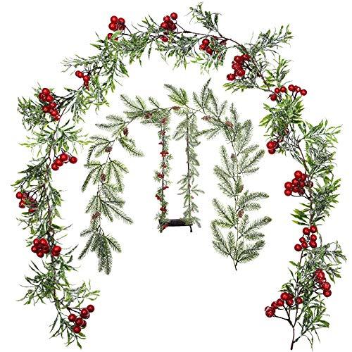 2 Stück Winter Girlande Weihnachten Girlande mit Tannen Zapfen Girlande Künstliche Beeren Girlande Indoor Outdoor Garten Tor Haus Dekorationen für Winter Ferien Neujahr Dekor