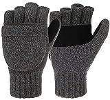 Korlon Winter Wool Knitted Convertible Fingerless Gloves with Mitten Cover Dark Gray One Size