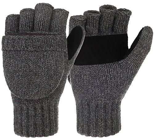 Winter Wool Knitted Fingerless Gloves Convertible Thinsulate Thermal Insulation Mittens for Women & Men(Dark Gray)