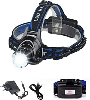 LED Headlamp Induction Switch and Waterproof Zoomable 4 Modes Adjustable Rechargeable Batteries for Camping Hiking Fishing Running Cycling,Bright and Best T6 Headlamps 2000 Lumen