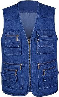Mens Outdoor Denim Vest,Hwalleum Men's Comfy Durable Cotton Blue Jeans Gilets Summer Lightweight Multi-pockets Working Tra...