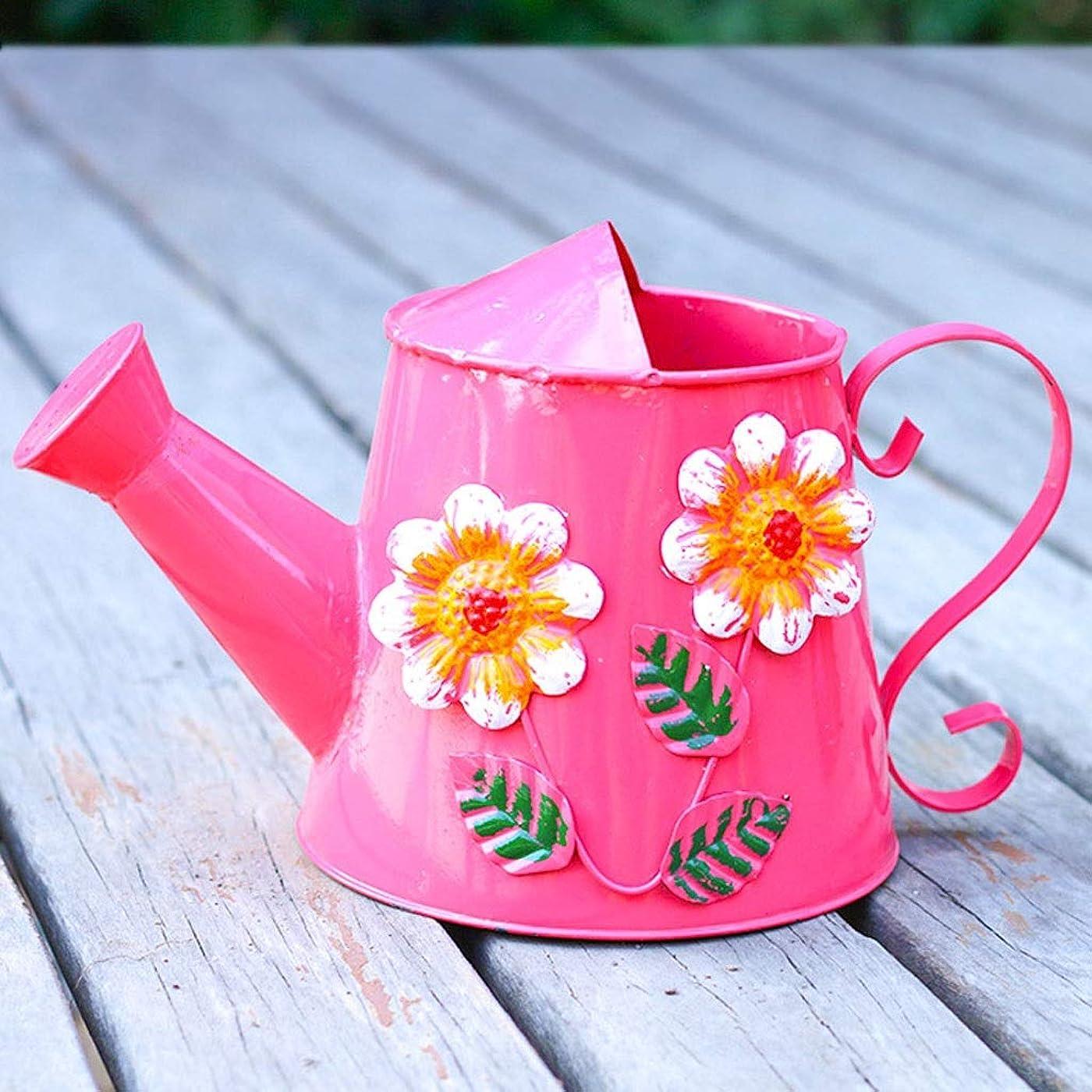 計画モルヒネブッシュ水耕栽培および自動屋内ガーデニングポット 家庭用の水まきの色錫じょうろ、ヴィンテージ印刷じょうろ、じょうろ花スプレーじょうろ(赤、3L) じょうろ