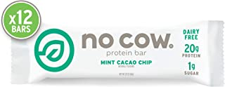 No Cow Protein bar, Mint Cacao Chip, 20g Plant Based Protein, Keto Friendly, Low Sugar, Dairy Free, Gluten Free, Vegan, High Fiber, Non-GMO, 12Count