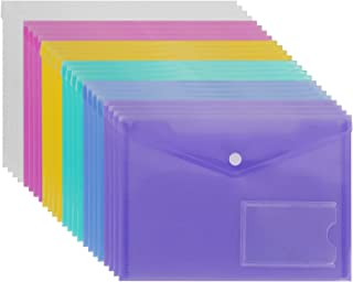 24 Pack A5 Poly Envelope Folder with Snap Button, CBTONE Clear Waterproof Plastic Document Envelope Premium Quality Envelopes Folder for School,Home, Work, and Office Organization, 6 Assorted Colors
