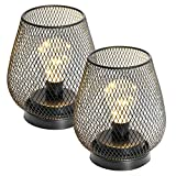 SA PRODUCTS Metal Cage Lantern – Set of 2 Pcs Battery Powered Table Light – Cordless Accent Led Light – Premium Wedding, Party, Indoor Decorations – Heavy Duty Design – Unique Decoration Choice