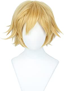 Linfairy Short Blonde Cosplay Wig Halloween Costume Cat Wig for Men