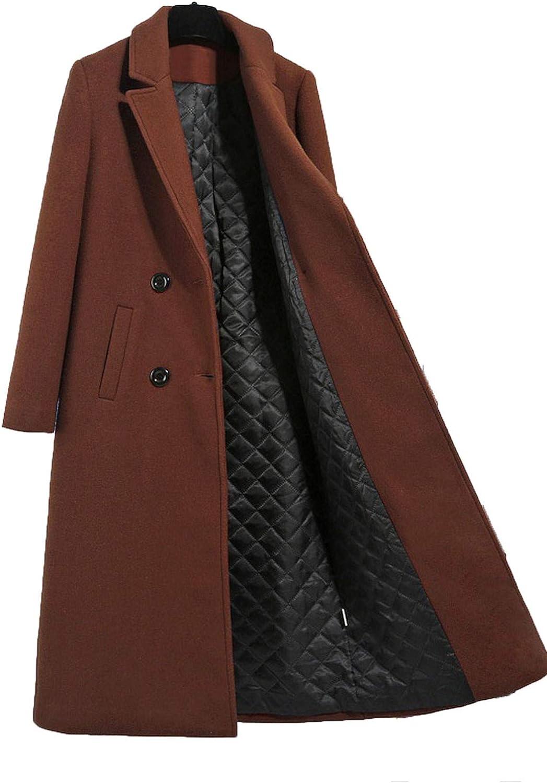 Caramel color Women's Wool Jacket Coats Casual Slim Thicken Warm Long Outerwear Coat