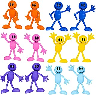 Kicko Bendable Smiley Figures - Happy Faces - 12 Pack Assorted Colors - Bendable Toys and Games, Action and Toy Figures, Party Favors and Novelties