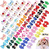 Comsmart 60Pcs Dog Bows, 30 Pairs Yorkie Dog Puppy Hair Bows with...